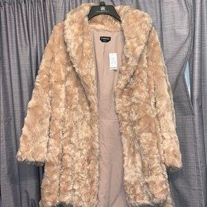 Woman's BEBE dress furry coat